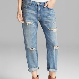 Current/Elliott boyfriend distressed cropped jeans